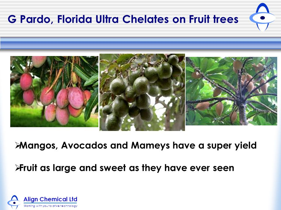 G Pardo, Florida Ultra Chelates on Fruit trees