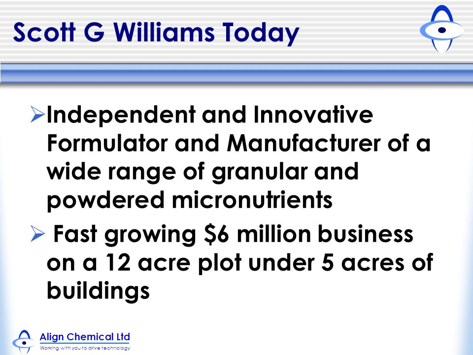Scott G Williams Today Independent and Innovative Formulator and Manufacturer of a wide range of granular and powdered micronutrients.