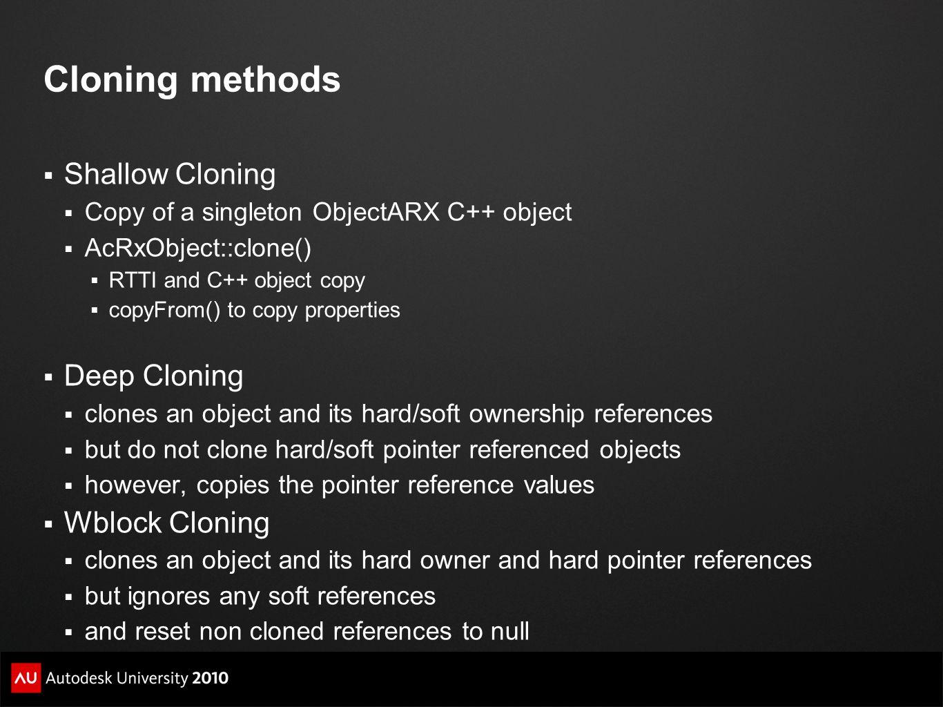 Cloning methods Shallow Cloning Deep Cloning Wblock Cloning