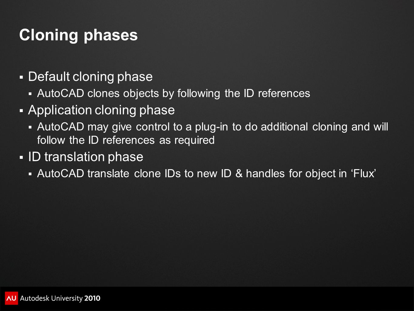Cloning phases Default cloning phase Application cloning phase