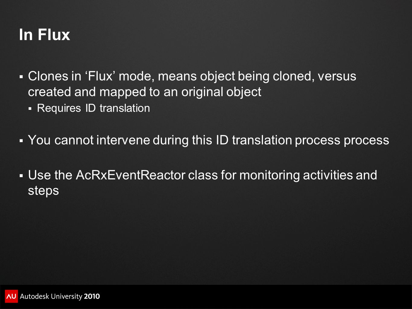 In Flux Clones in 'Flux' mode, means object being cloned, versus created and mapped to an original object.