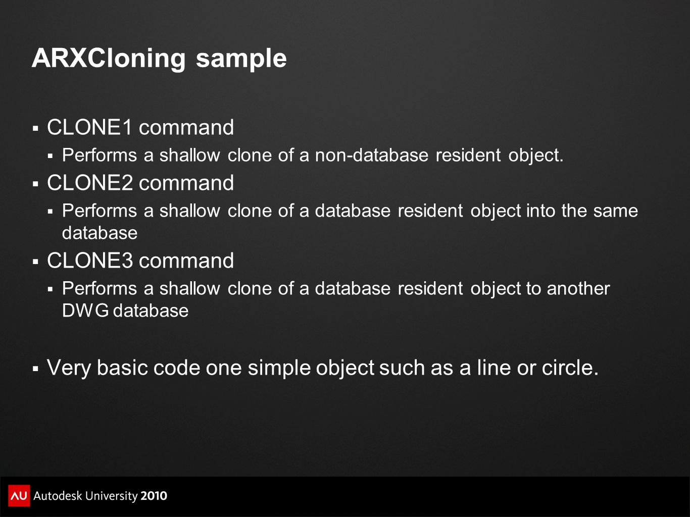 ARXCloning sample CLONE1 command CLONE2 command CLONE3 command