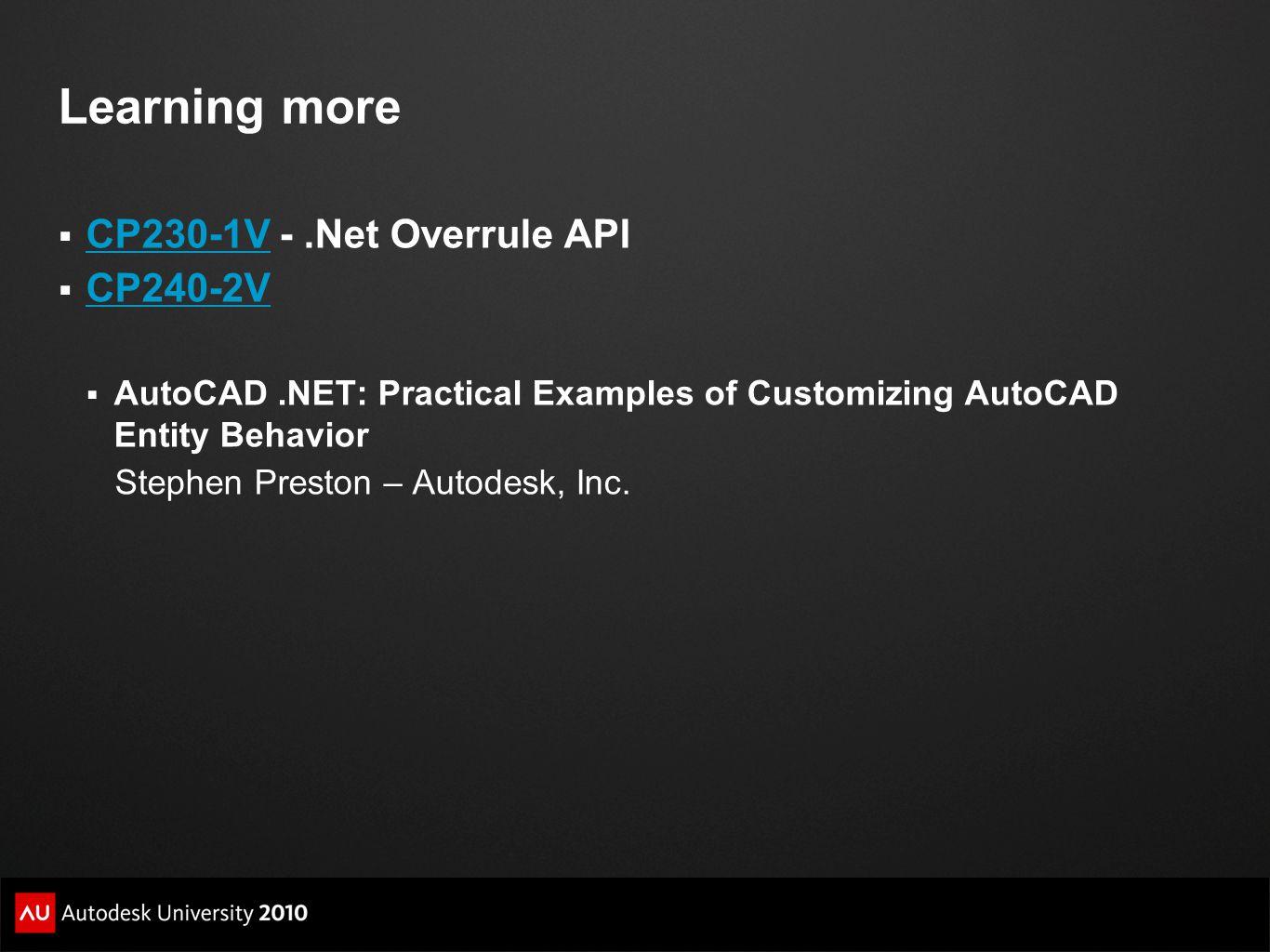 Learning more CP230-1V - .Net Overrule API CP240-2V