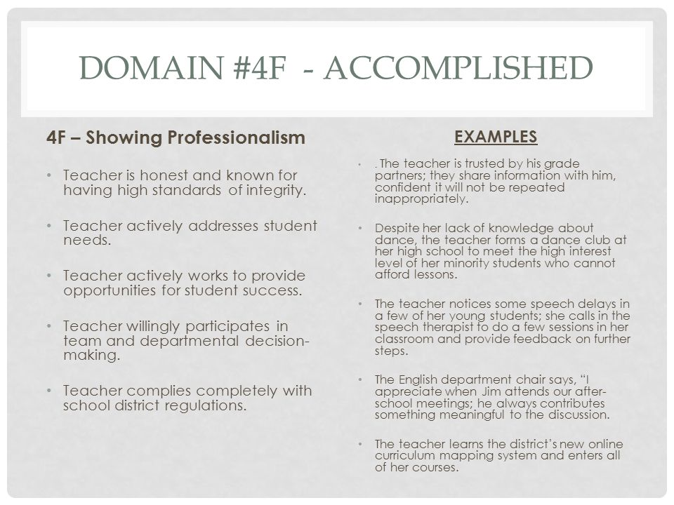Domain #4f - Accomplished
