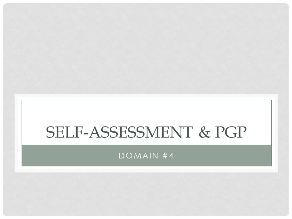 Self-Assessment & PGP Domain #4
