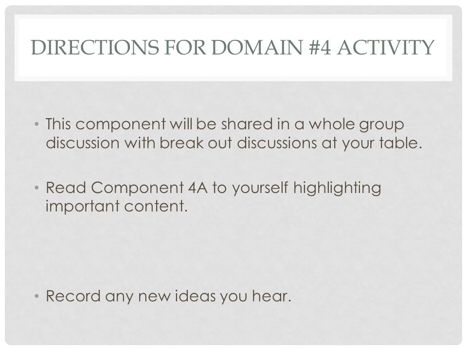 Directions for Domain #4 Activity
