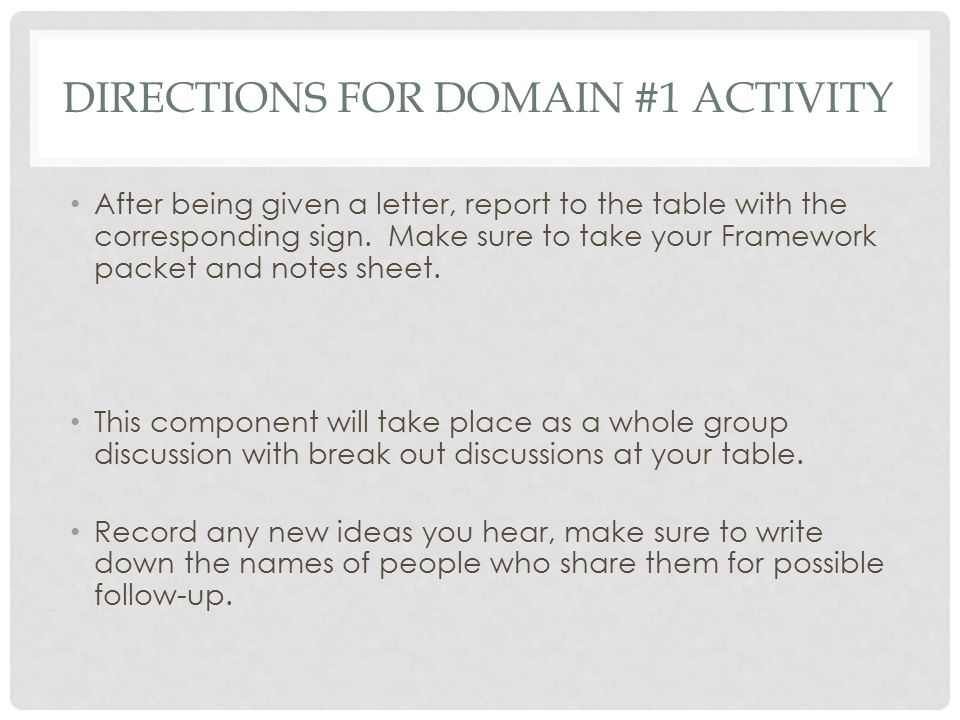 Directions for Domain #1 Activity
