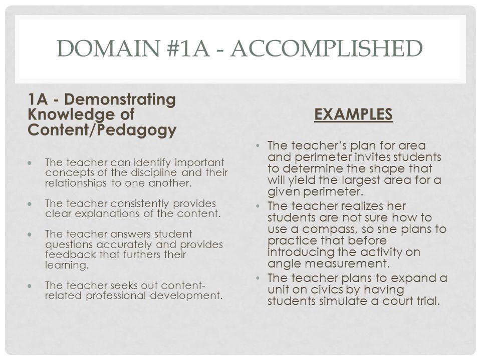 Domain #1A - Accomplished