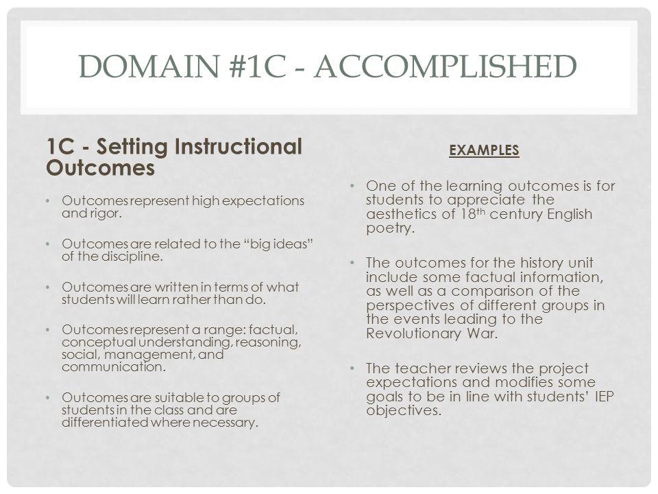 Domain #1C - Accomplished