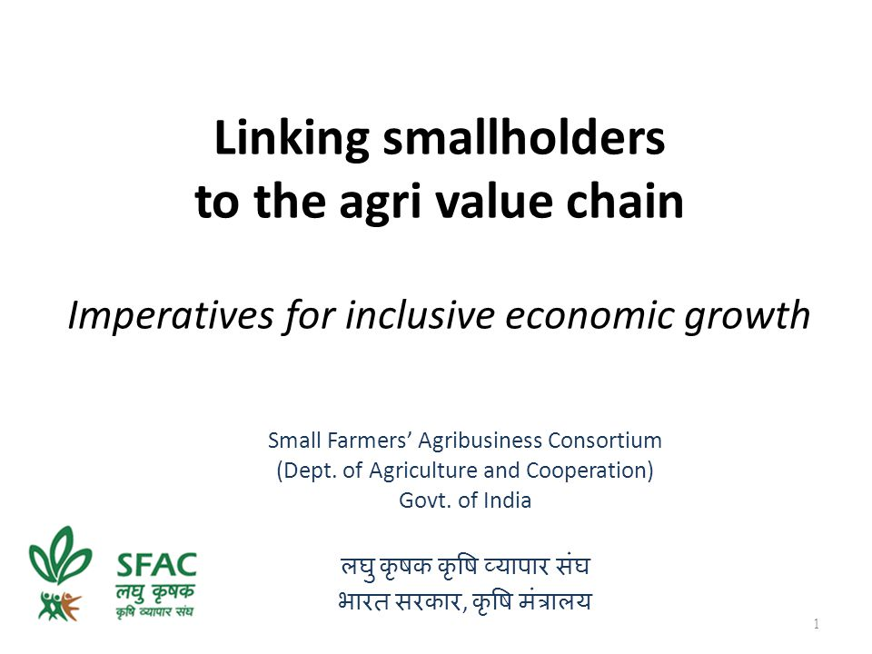 Linking smallholders to the agri value chain Imperatives for inclusive economic growth