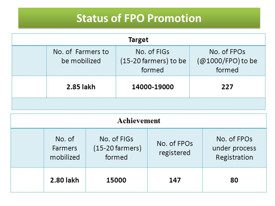 Status of FPO Promotion