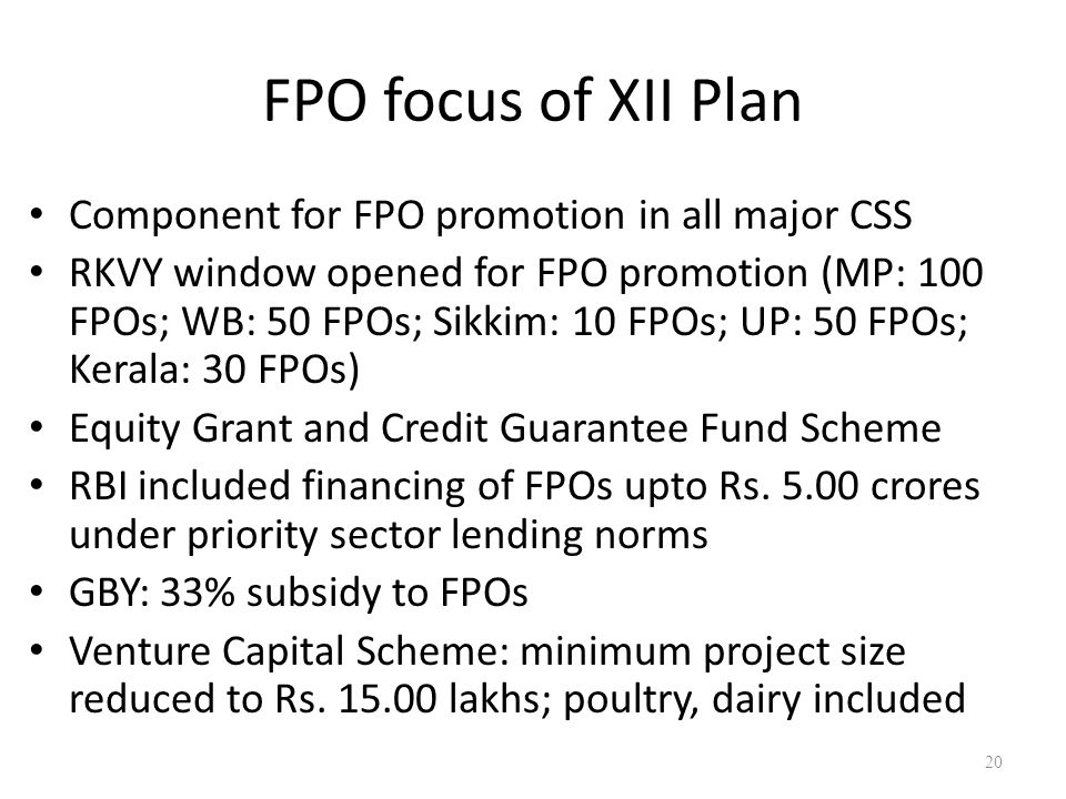 FPO focus of XII Plan Component for FPO promotion in all major CSS