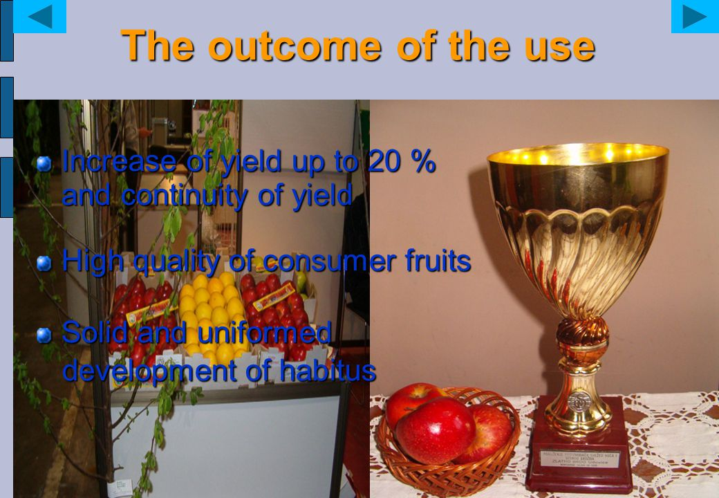 The outcome of the use Increase of yield up to 20 % and continuity of yield. High quality of consumer fruits.