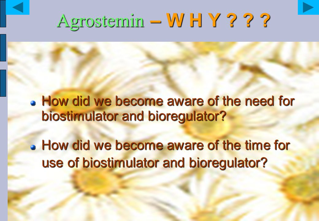 Agrostemin – W H Y How did we become aware of the need for biostimulator and bioregulator How did we become aware of the time for.