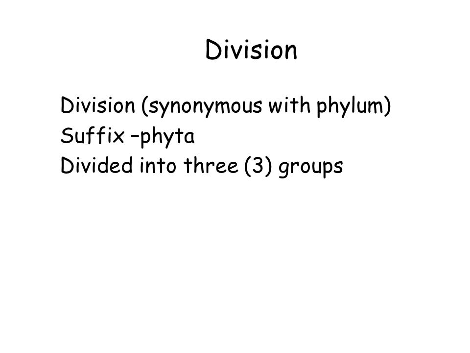 Division Division (synonymous with phylum) Suffix –phyta
