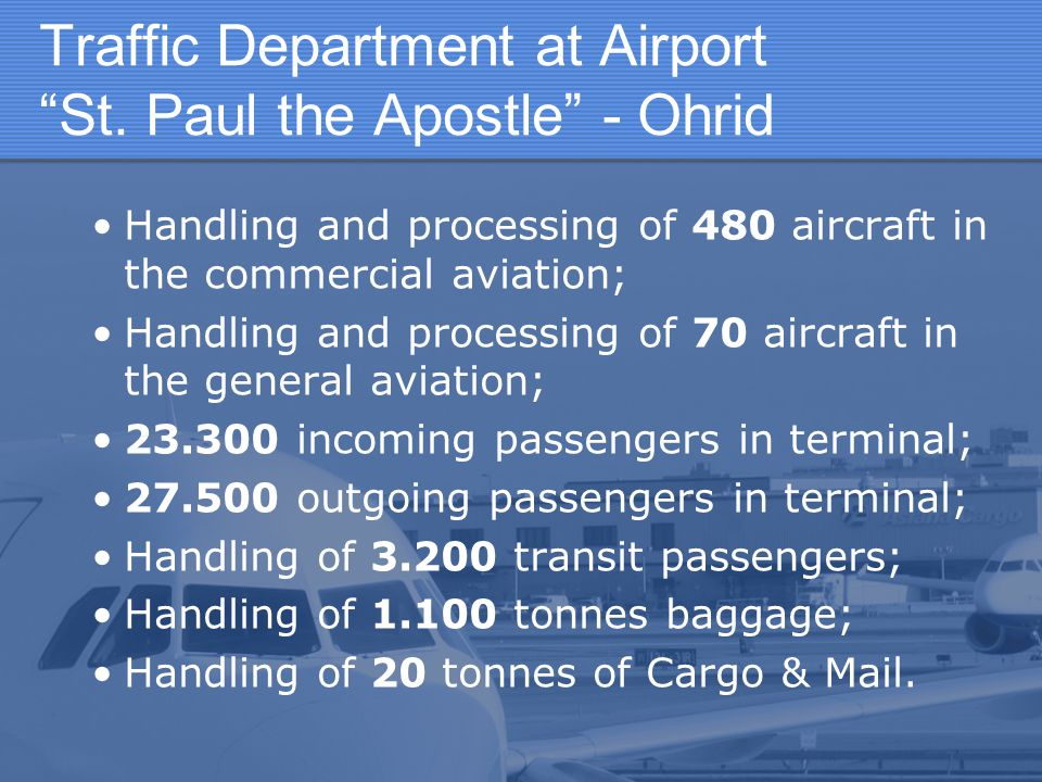 Traffic Department at Airport St. Paul the Apostle - Ohrid