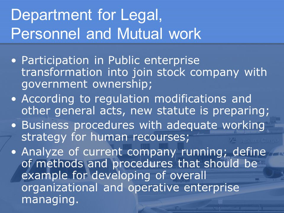 Department for Legal, Personnel and Mutual work