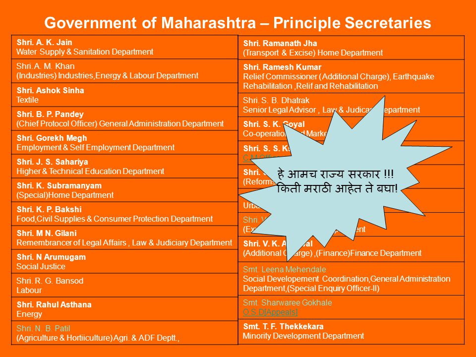 Government of Maharashtra – Principle Secretaries