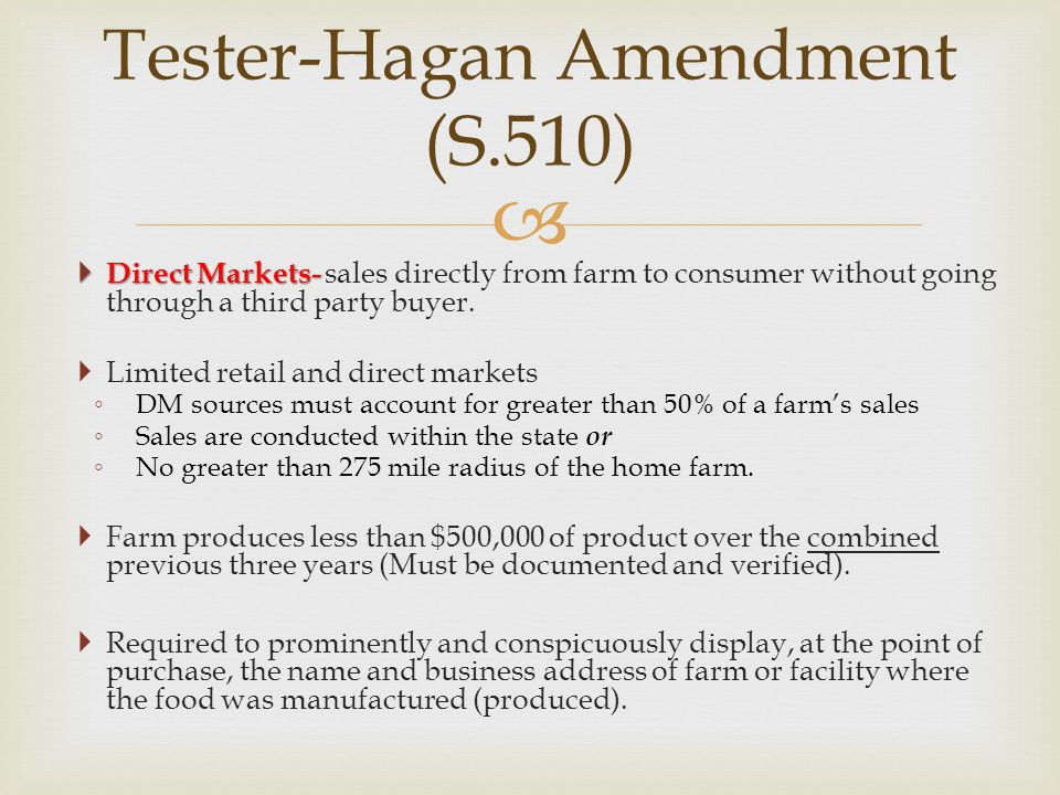 Tester-Hagan Amendment (S.510)