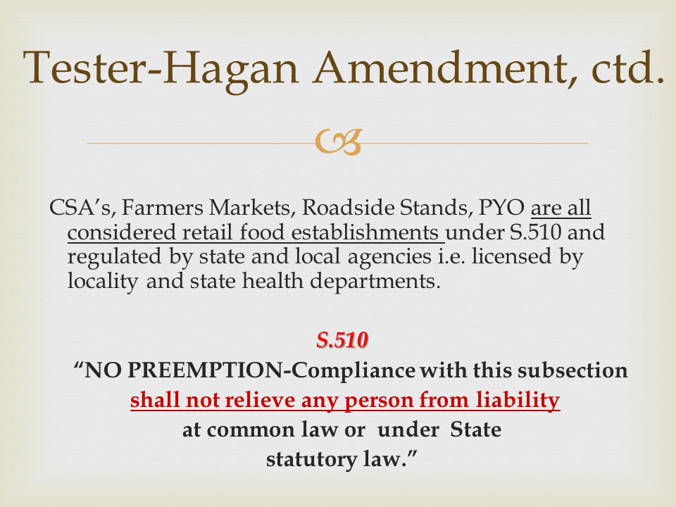 Tester-Hagan Amendment, ctd.