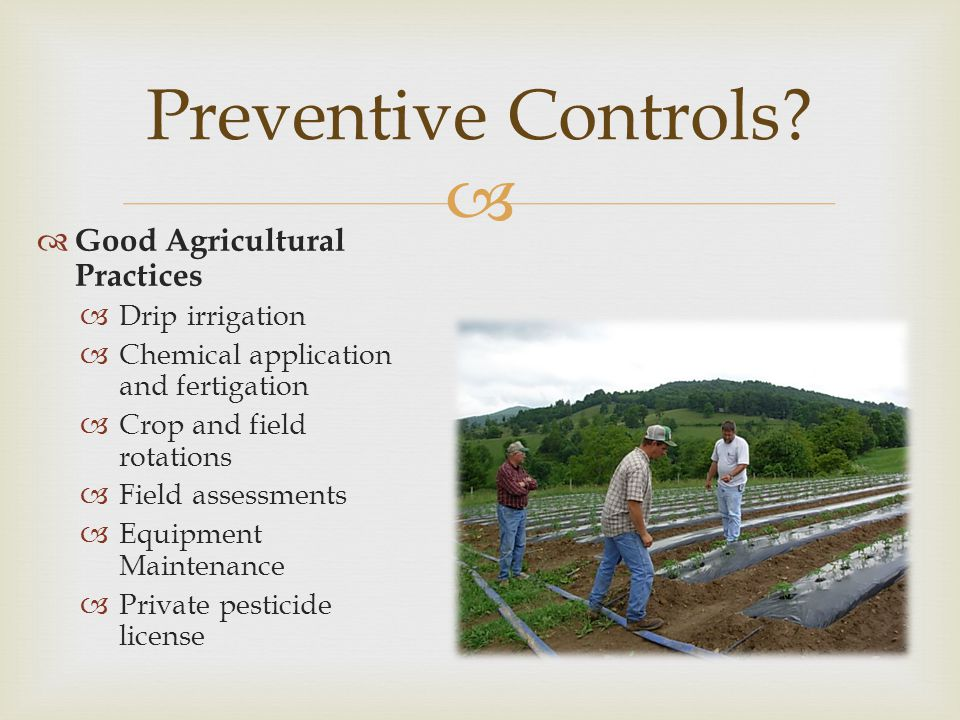 Preventive Controls Good Agricultural Practices Drip irrigation