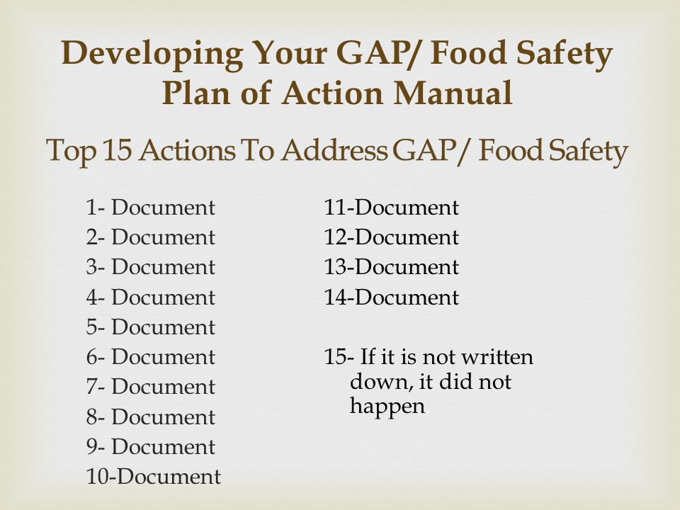 Top 15 Actions To Address GAP/ Food Safety