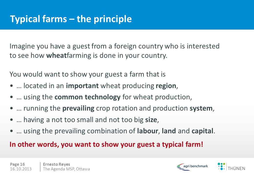 Typical farms – the principle