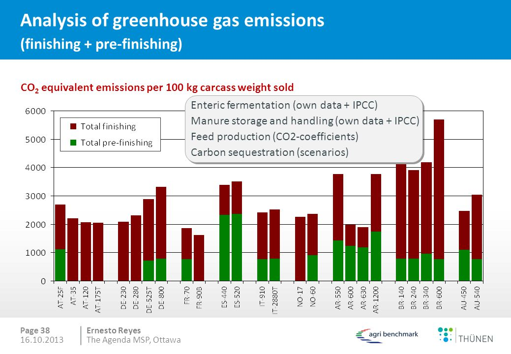 Analysis of greenhouse gas emissions (finishing + pre-finishing)