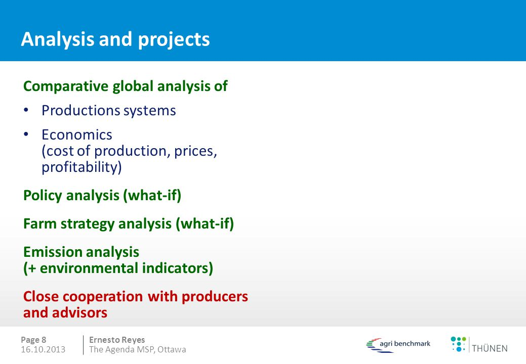 Analysis and projects Comparative global analysis of