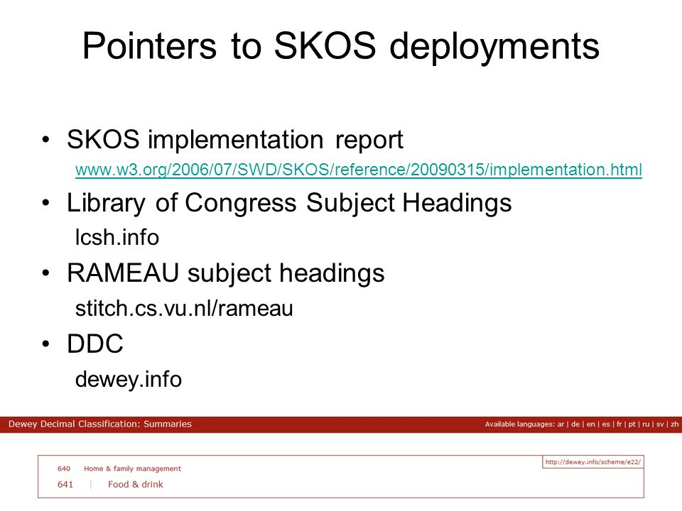 Pointers to SKOS deployments