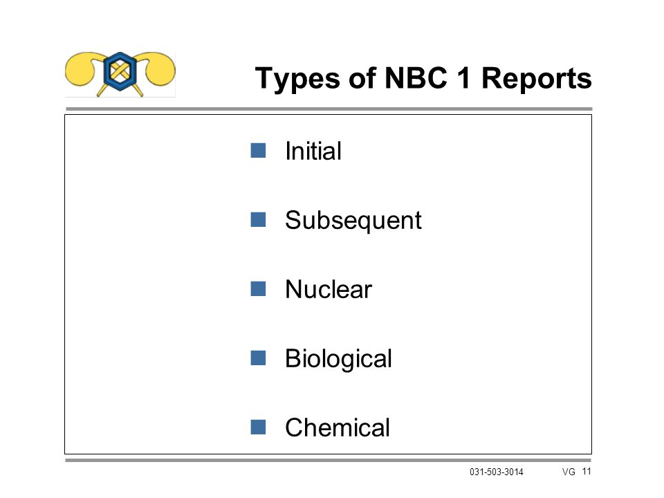 Types of NBC 1 Reports Initial Subsequent Nuclear Biological Chemical
