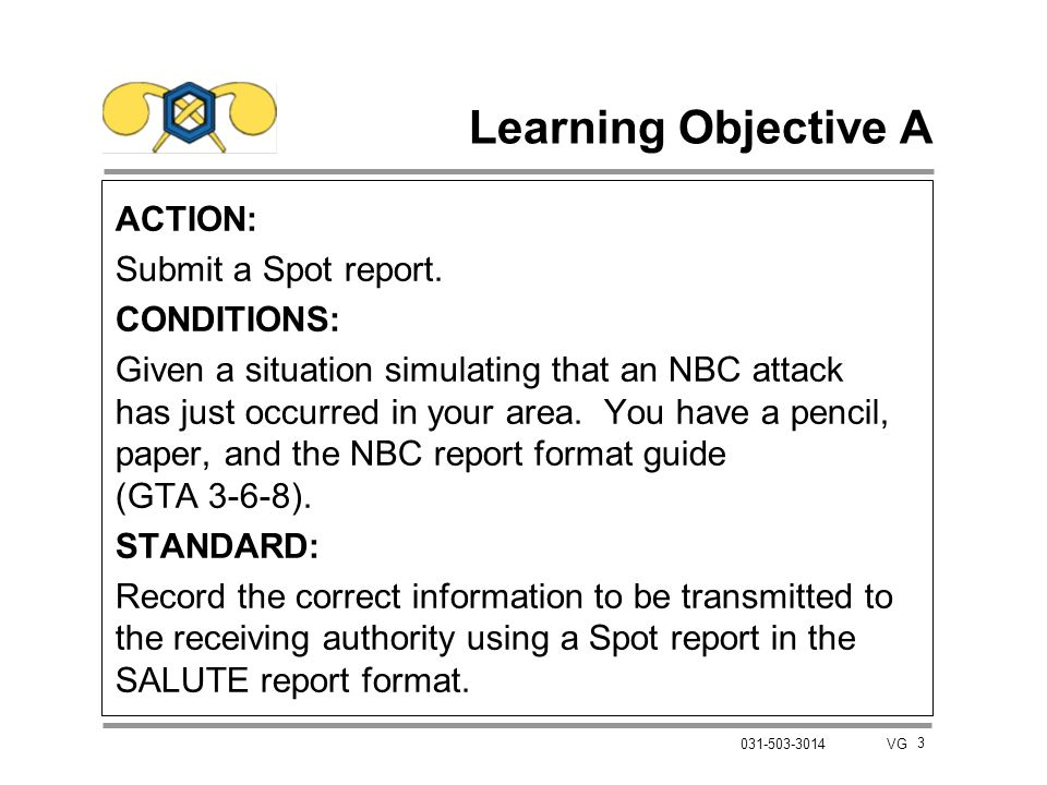 Learning Objective A ACTION: Submit a Spot report. CONDITIONS: