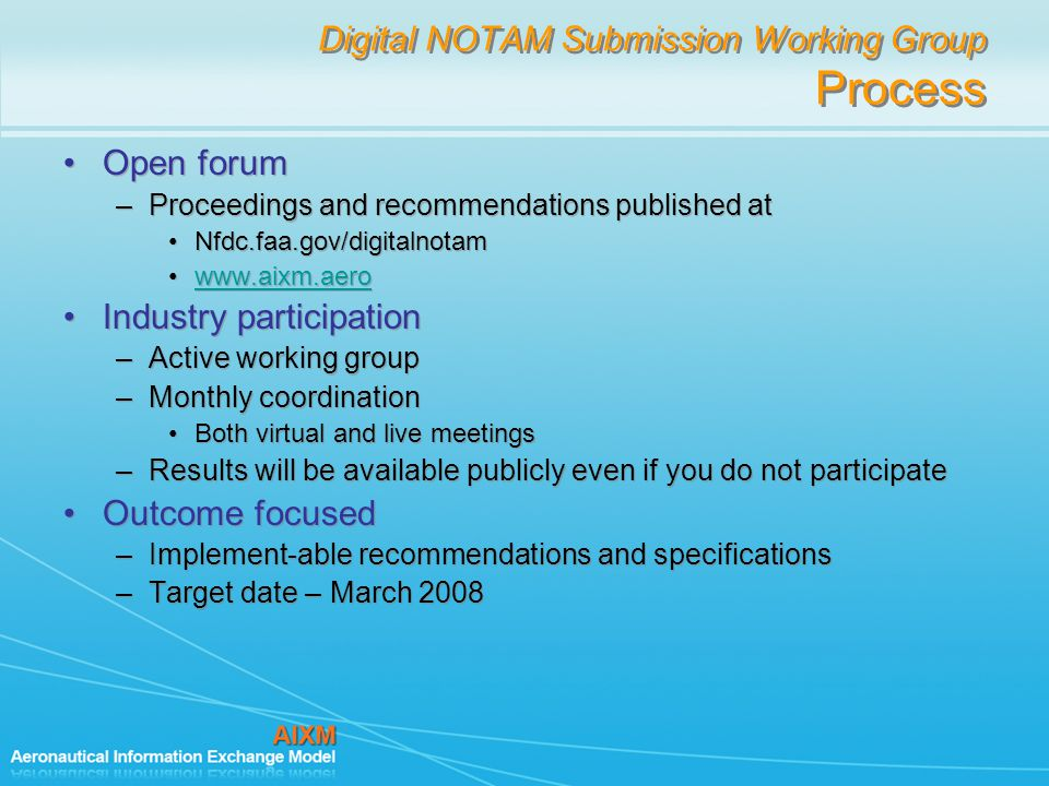Digital NOTAM Submission Working Group Process