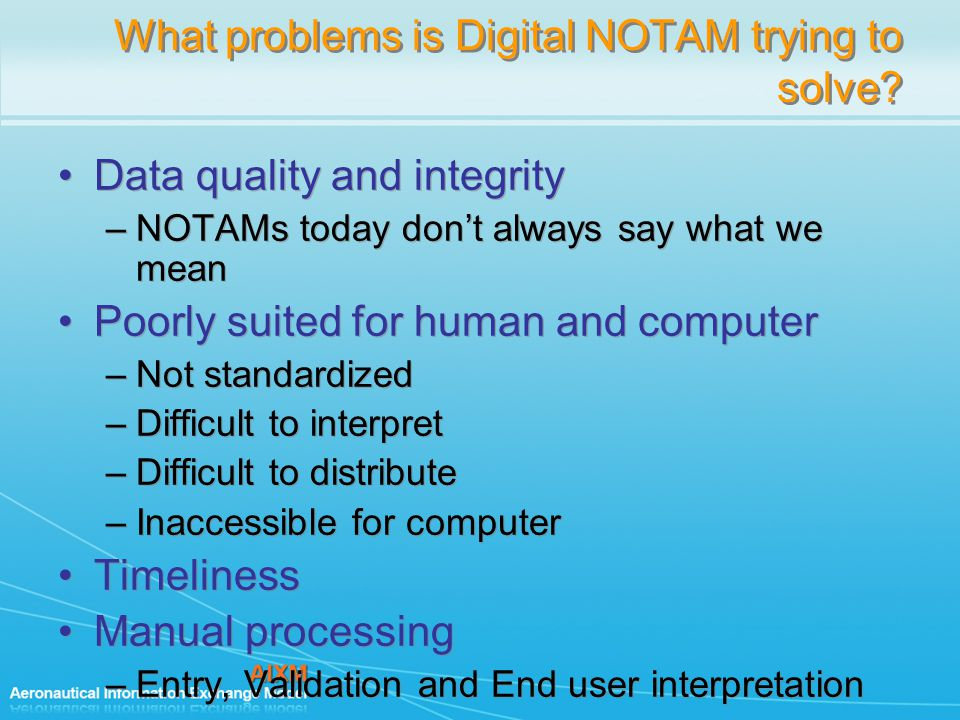 What problems is Digital NOTAM trying to solve