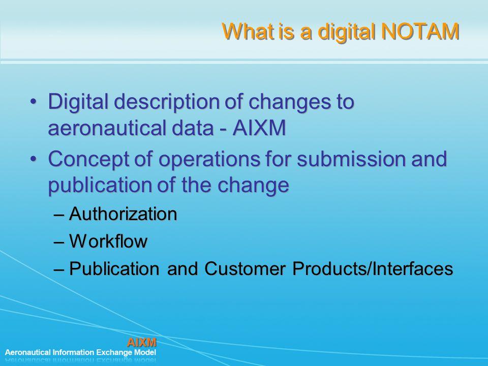 Digital description of changes to aeronautical data - AIXM