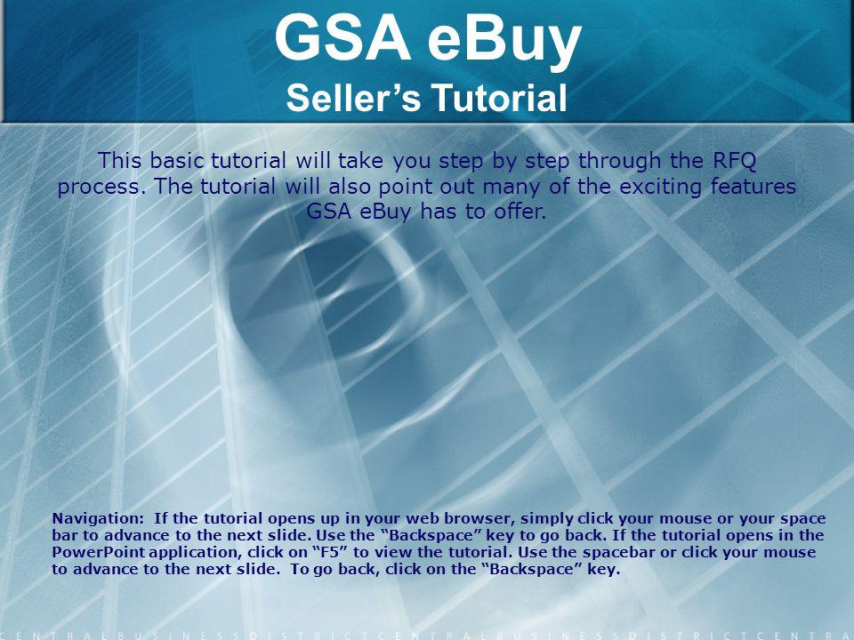 GSA eBuy Seller's Tutorial