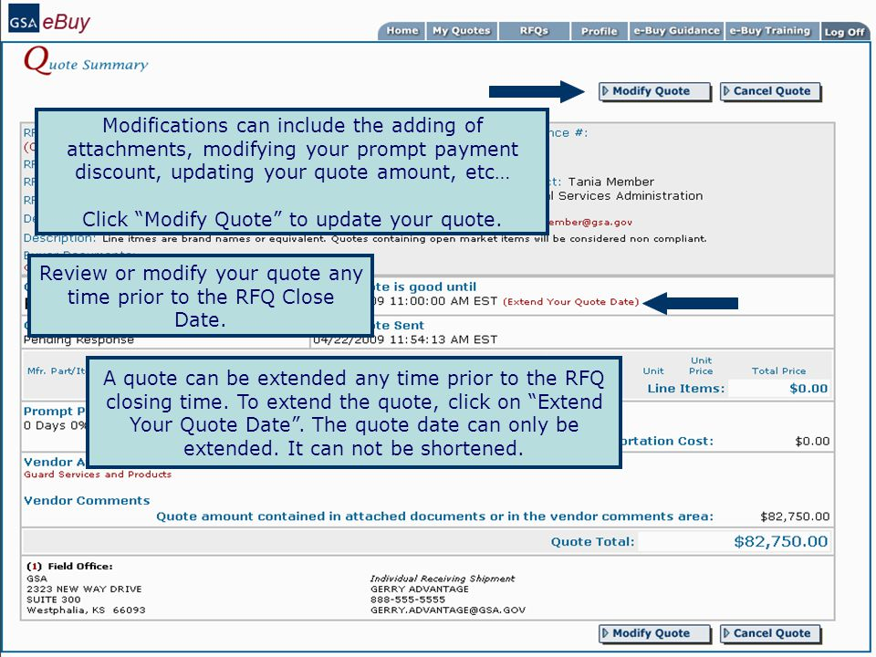 Click Modify Quote to update your quote.