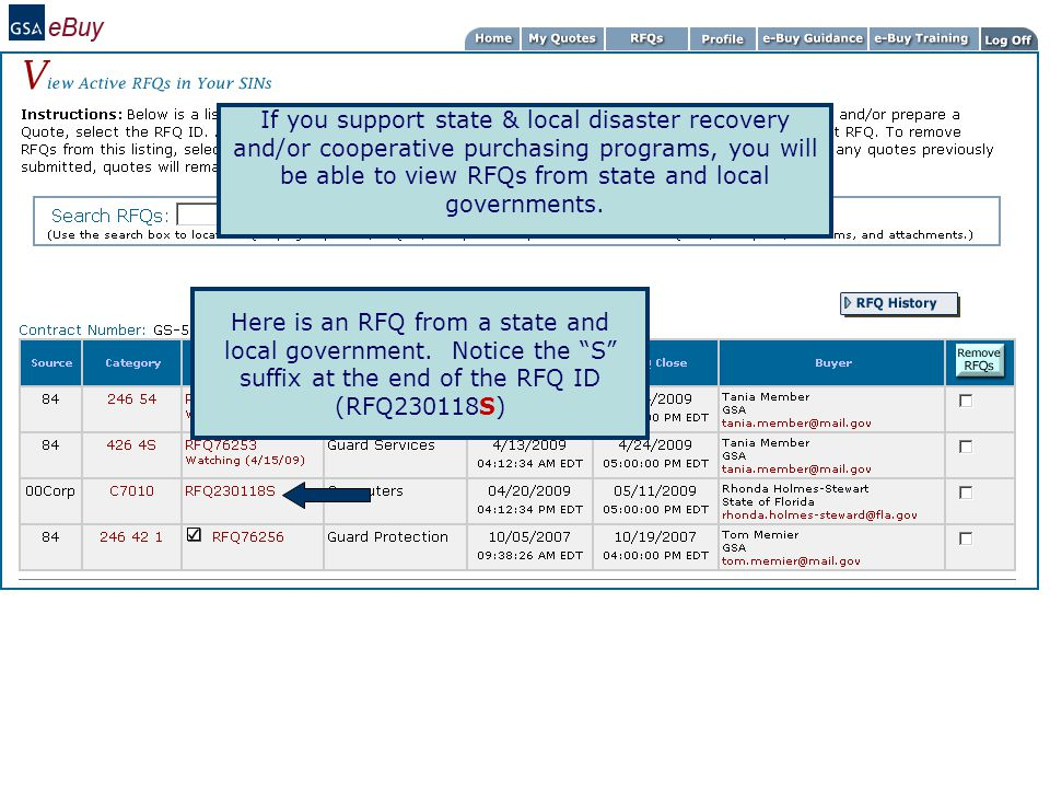If you support state & local disaster recovery and/or cooperative purchasing programs, you will be able to view RFQs from state and local governments.