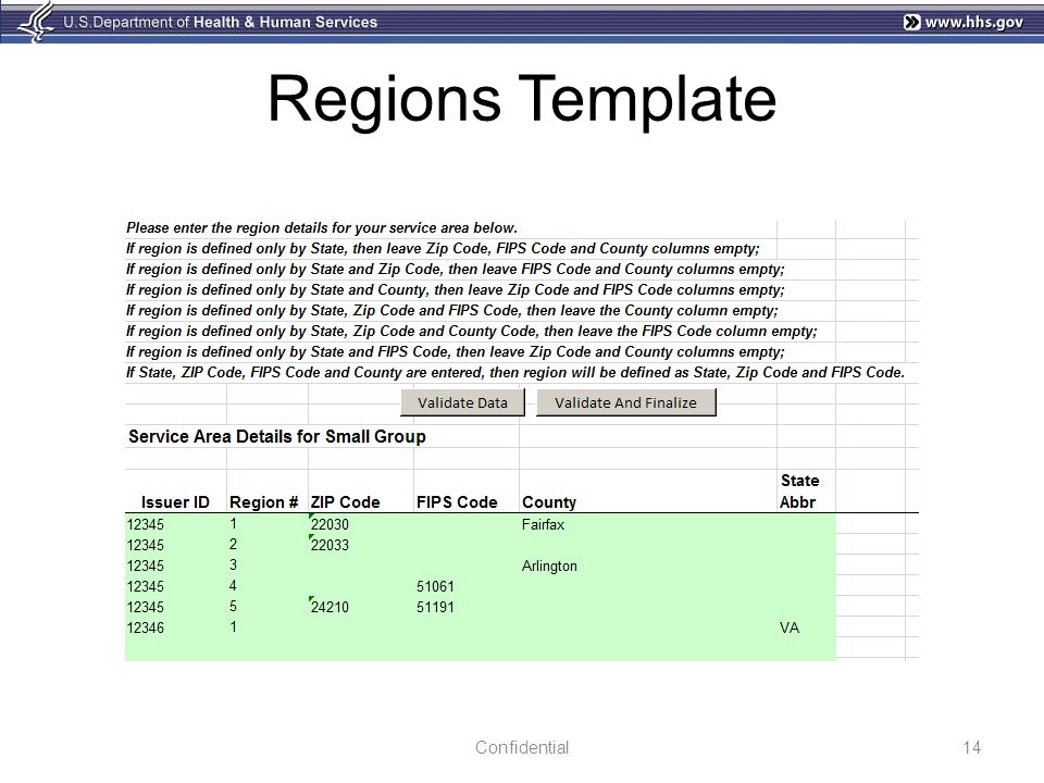 Regions Template Confidential
