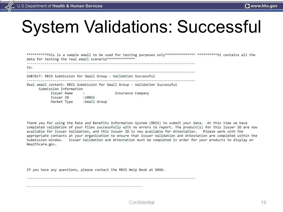 System Validations: Successful