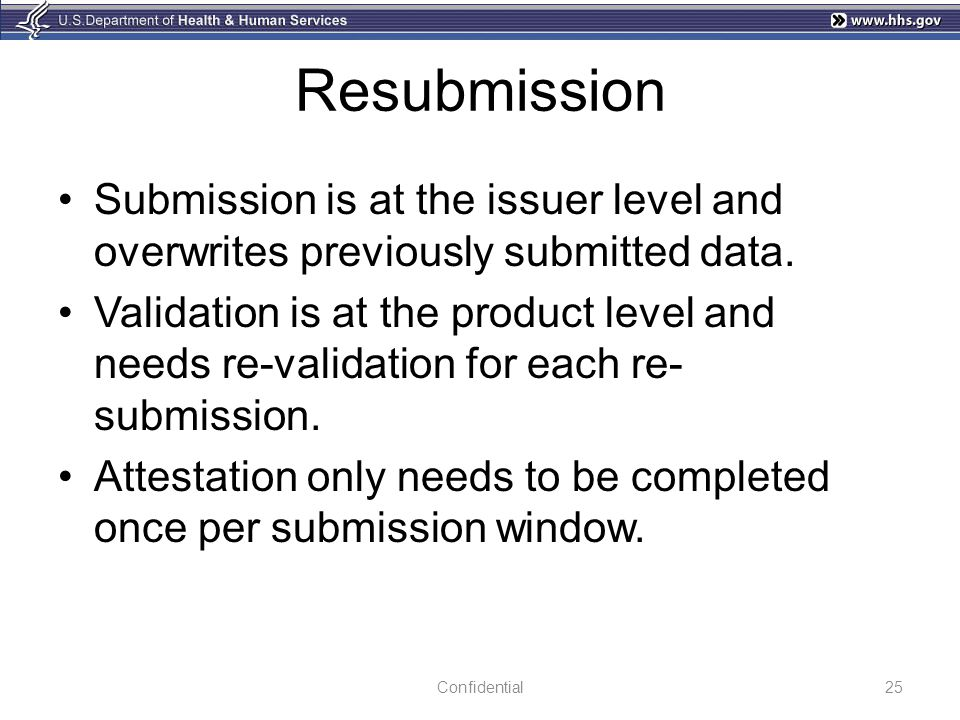 Resubmission Submission is at the issuer level and overwrites previously submitted data.