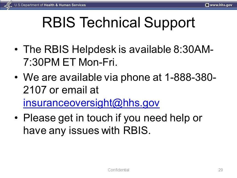 RBIS Technical Support