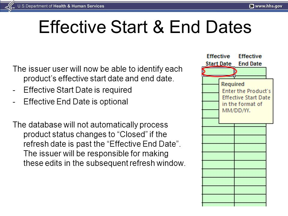 Effective Start & End Dates