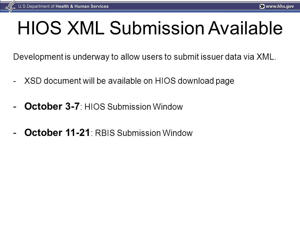 HIOS XML Submission Available