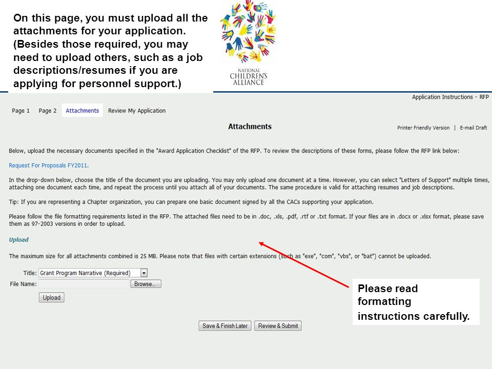 On this page, you must upload all the attachments for your application