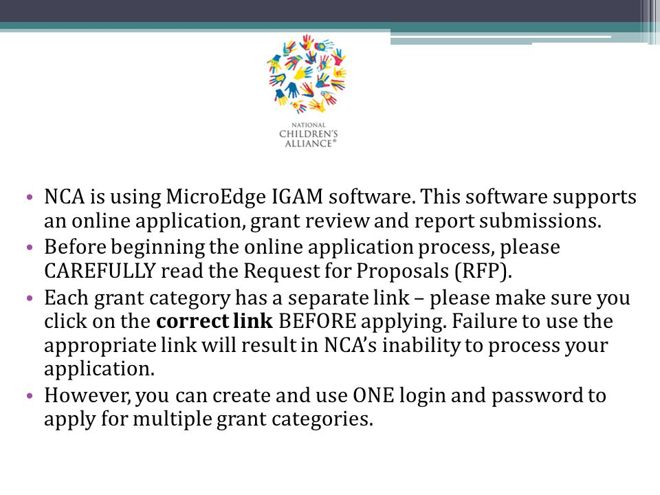 NCA is using MicroEdge IGAM software