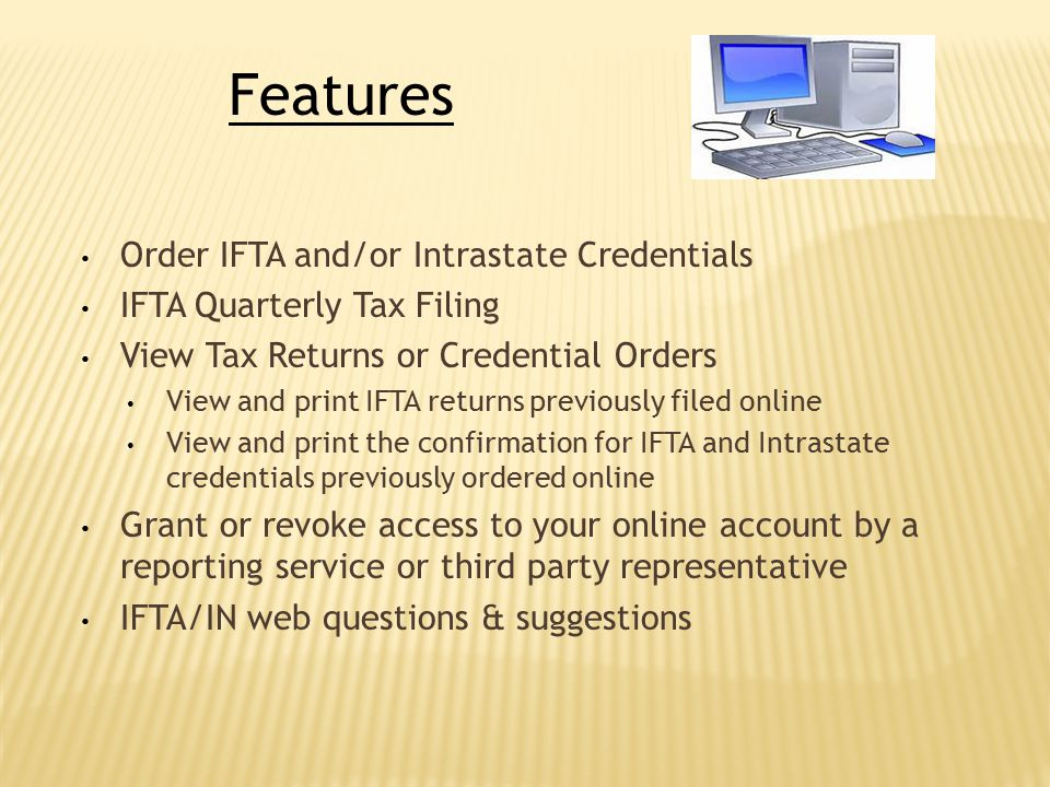 Features Order IFTA and/or Intrastate Credentials