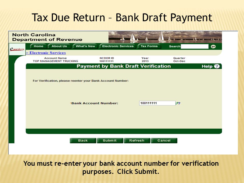 Tax Due Return – Bank Draft Payment