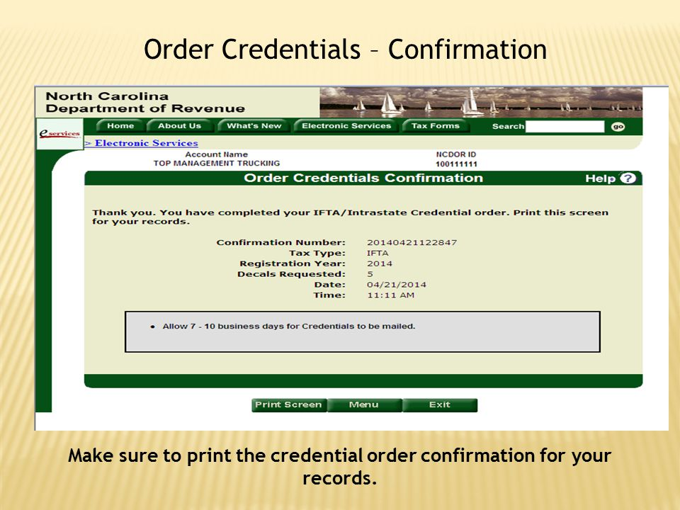 Order Credentials – Confirmation