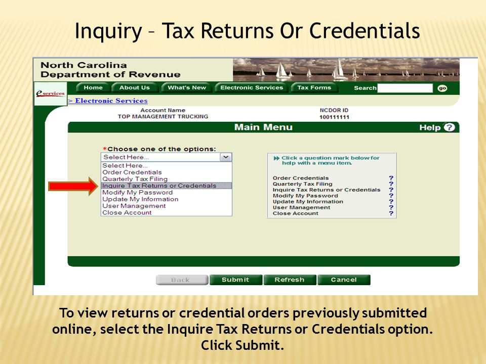 Inquiry – Tax Returns Or Credentials